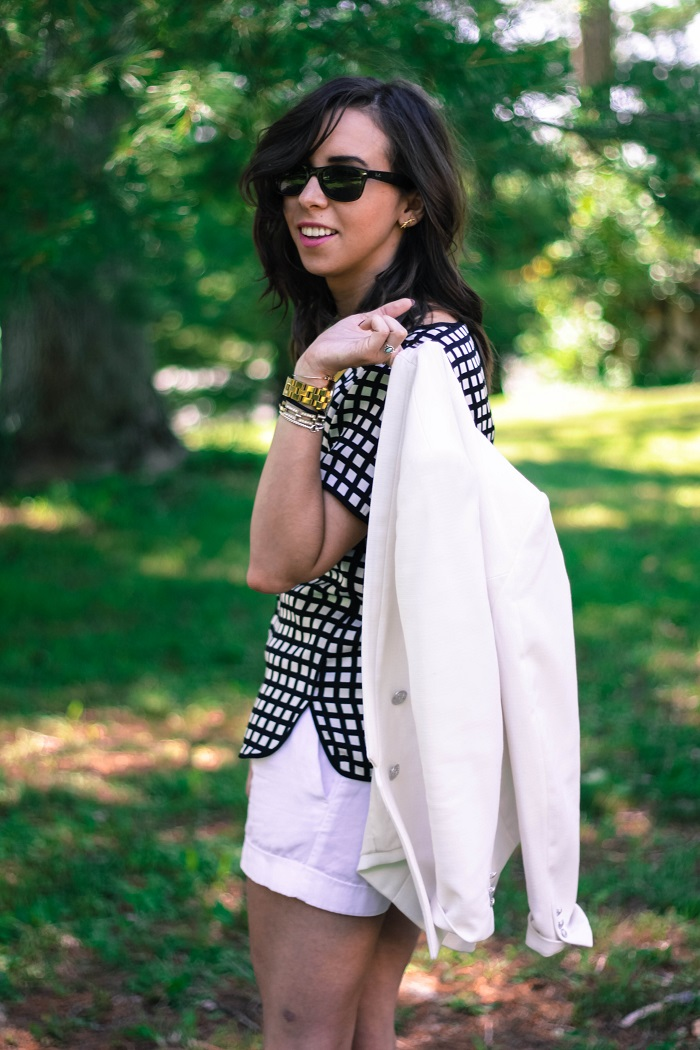 va darling. dc blogger. virginia personal style blogger. white short suit. white blazer. white shorts. rebecca minkoff heels. windowpane top. 6