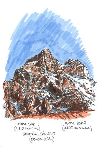 Ushba sur (4.710 m.s.n.m.) y Ushba norte (4.690 m.s.n.m.)