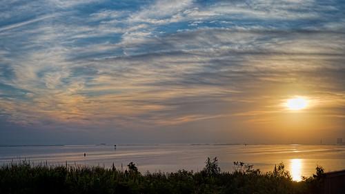sky people panorama usa mist reflection building water sunrise river landscape dawn spring fishing seasons florida titusville buoy centralflorida