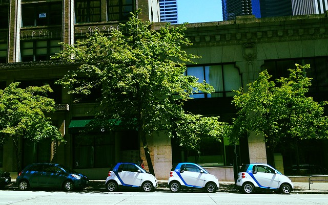 Three Car2Go cars ready to go