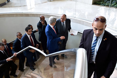 U.S. Secretary of State John Kerry walks with Egyptian Foreign Minister Sameh Shoukry after a follow-up meeting on July 25, 2014, in Cairo, Egypt, as regional and international leaders try to craft a cease-fire agreement to halt the fighting between Israel and Hamas in the Gaza Strip. [State Department photo/ Public Domain]