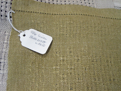 Handwoven linen Swedish lace sample by weaver Jette Vandermeiden