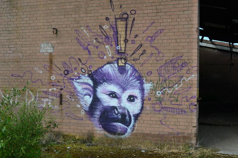 Monkey graffiti at brickworks