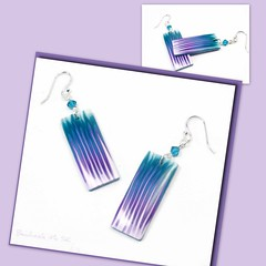 polymer clay Purple/Teal Dangle earrings