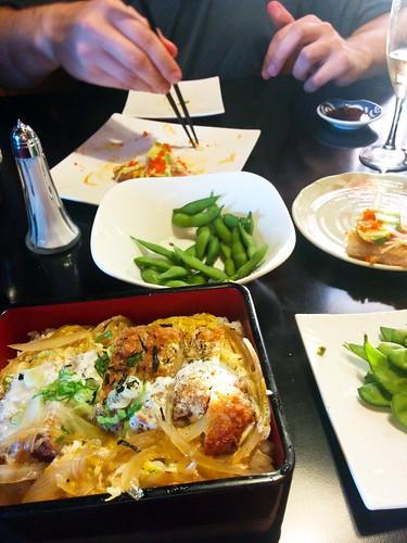 Katsu Dan, Edamame, and Sushi Pizza at Taki Japanese Restaurant