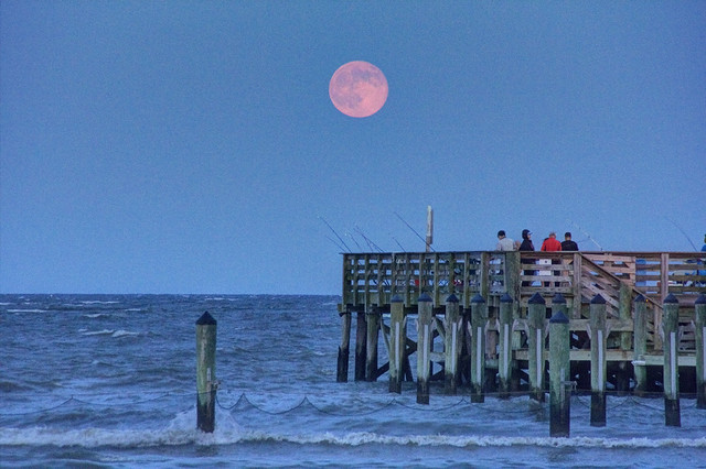"""Super Moon"" Over North Beach Pier"
