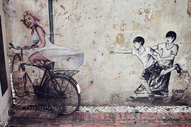 3d рисунок на стене с Мерлин Монро
