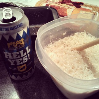 What do you do when you find a #beerbread mix that says use by July 31? I say Hell Yes and grab a #MoatMountain #Helles and get my baking on! #beer #brewery #newengland #MadeinNH #drinklocal