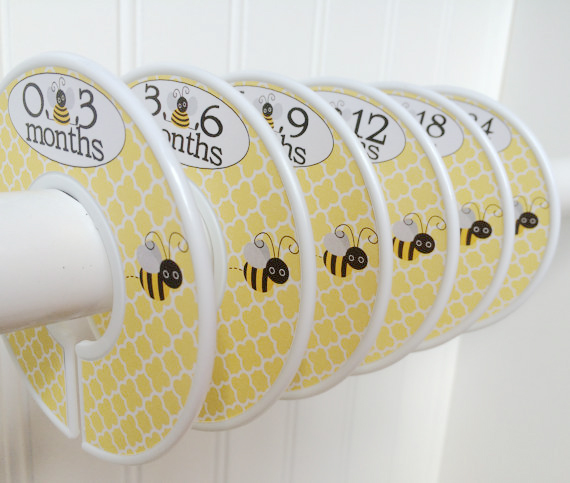 6 custom yellow bee honeycomb pattern closet dividers plastic discs watch me grow stickers on etsy gender neutral for baby clothes sizes sizing months