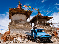 Chortens and old truck
