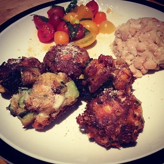#kvpkitchen #vegetarian dinner w/ zucchini cheese balls, tomato salad and mashed garlic white beans. Last night's #kitchen adventure! NOM! #foodspotting #kvpinmybelly #foodstagram