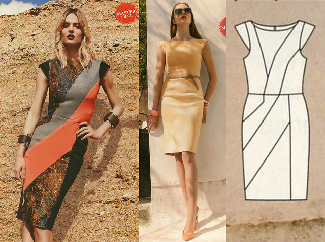 Burda-August-2014 Color Blocked Dress