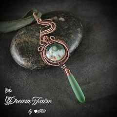 Drop of Green Sea Lampwork and Copper Wire Wrapped Necklace