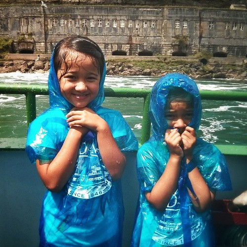Ava loved getting soaked by Niagara Falls. And Mila? Not so much.