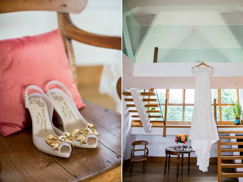 Wedding dress and shoes