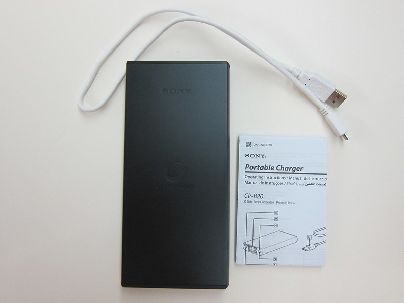 Sony CP-B20 20000mAh USB Portable Charger - Packaging Contents