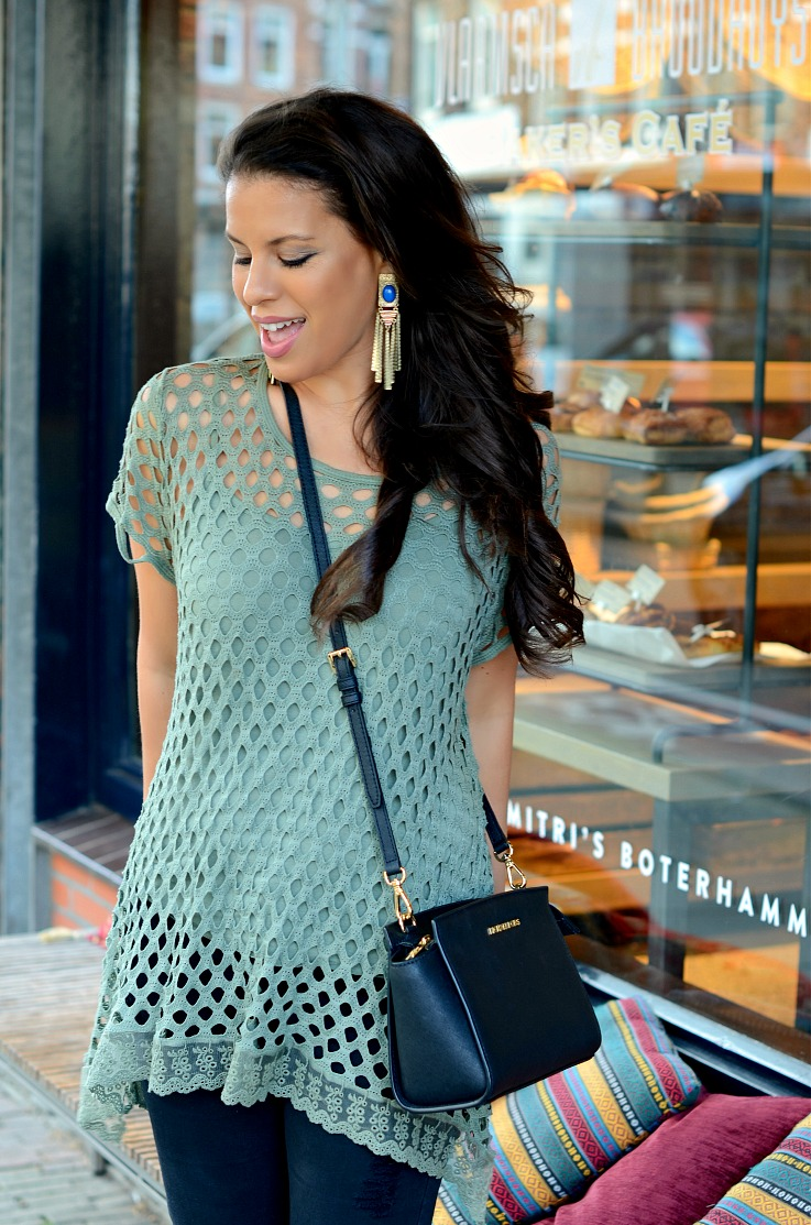 DSC_3798 Army Green Mesh sweater, Michael Kors Selma bag