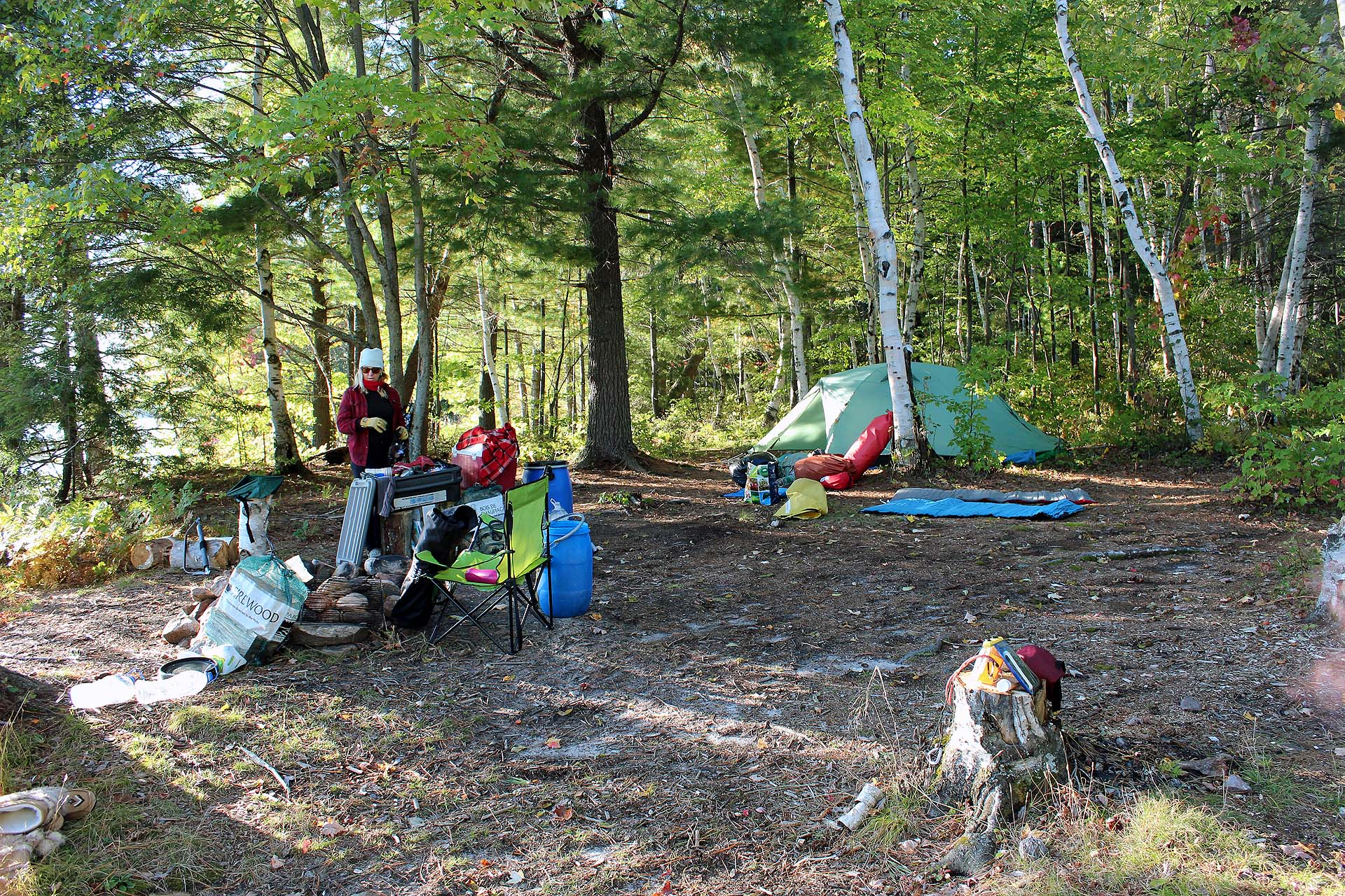 Sunny Days Backyard Camp : At our campsite between two lakes at Restoule Provincial Park