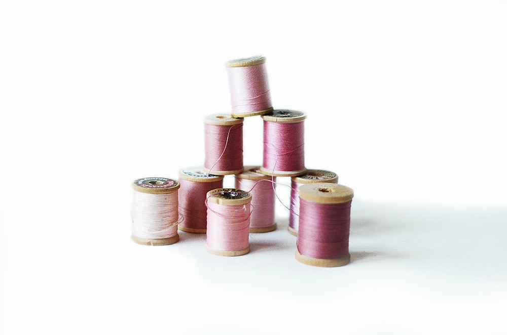 Nine Vintage Wooden Spools with Pink Thread: Blush Tones Collection