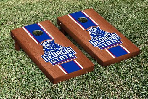 Georgia State Panthers Cornhole Game Set Rosewood Stain Stripe Version