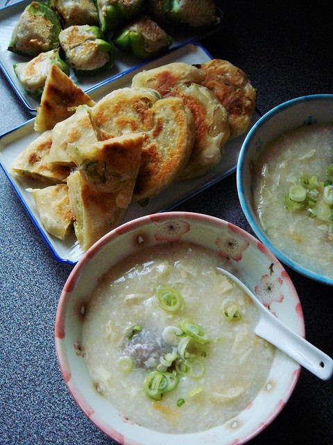 Congee, Green Onion Pancake, Pan-Seared Stuffed Peppers