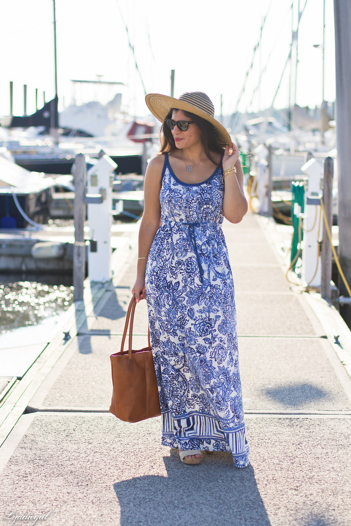 Porcelain print maxi dress, straw hat-2.jpg
