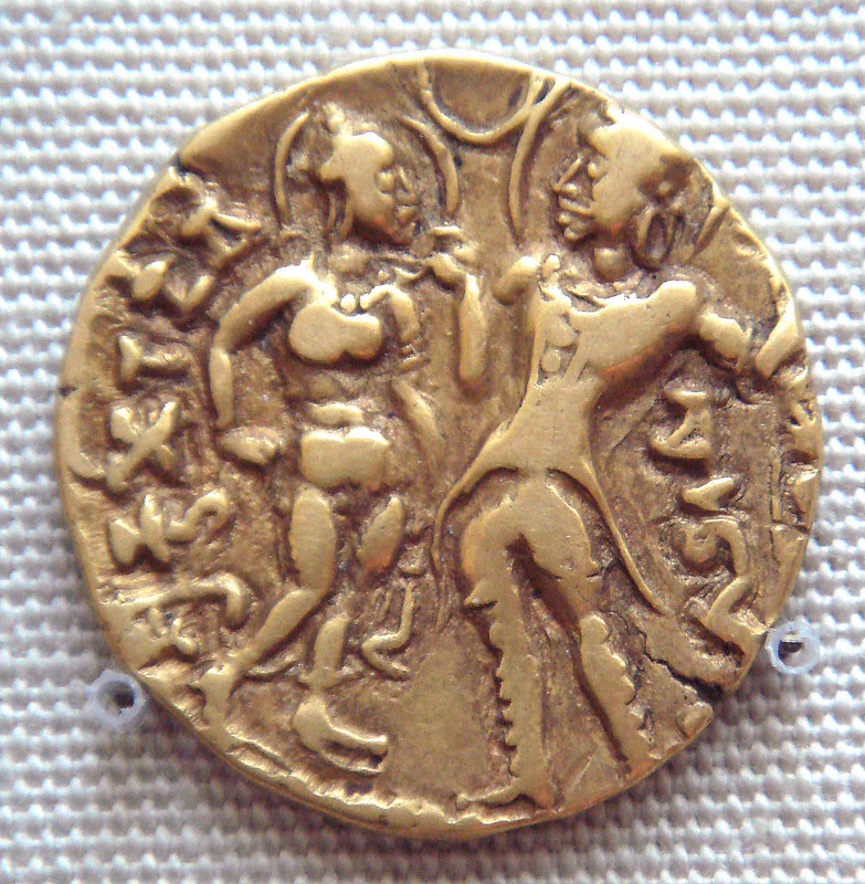 Queen Kumaradevi and King Chandragupta I on a coin of their son Samudragupta