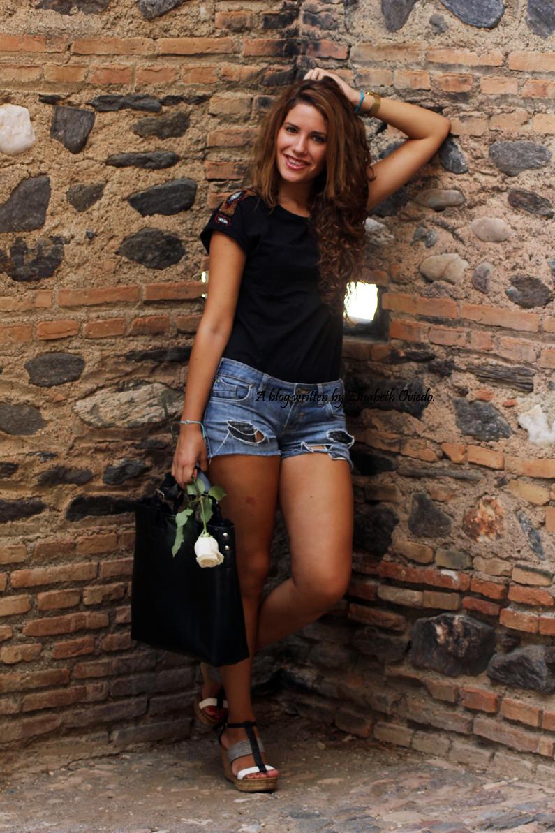 cuñas blancas y negras Marila HEELSANDROSES shorts denim (4)