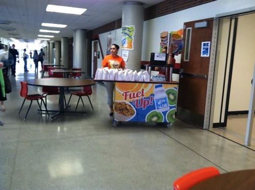 "The ""Grab-n-Go"" breakfast station is in Liberal High School hallways after first period, so kids can pick them up on their way to the next class. The concept has increased breakfast participation (and students' overall nutrition) significantly."
