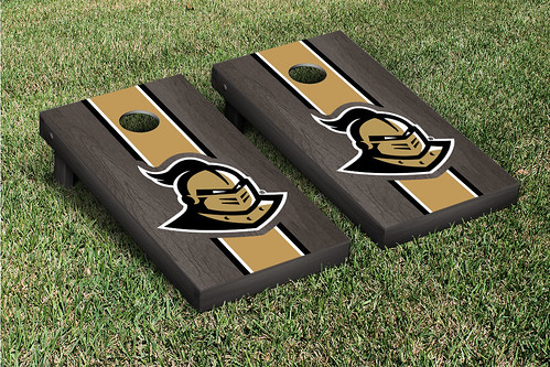University of Central Florida UCF Knights Cornhole Game Set Onyx Stained Stripe Version