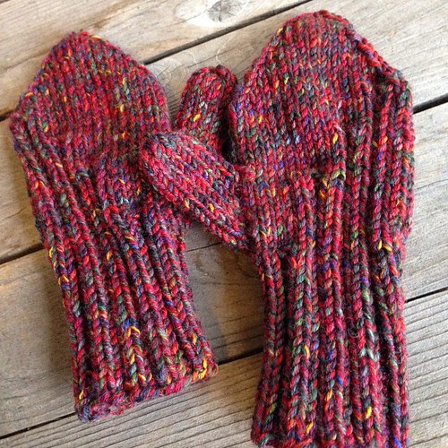 False alarm! I had just enough yarn to finish these mittens. Dabbler by Katya Frankel.
