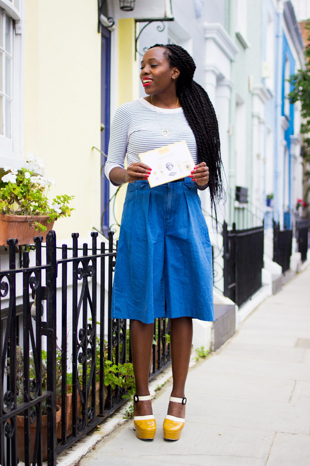 MiH The Taos denim culottes with Orla Kiely Clarks Shoes