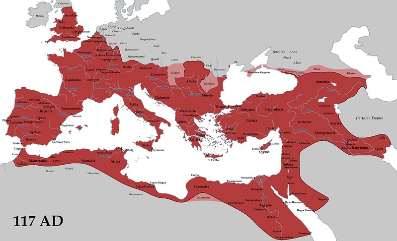 The extent of the Roman Empire under Trajan
