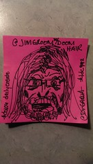 Hot pink post it Doom Groom. #ds106 #dailycreate #tdc992 #sharpie love @jimgroom