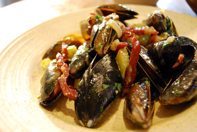 Mussels in Cider with Bacon & Celery
