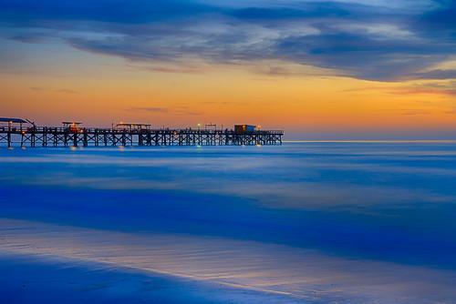 beach blue bluehour coastallandscape coastline colourful colours evening fl florida landscape nature northamerica northwest orange pier redingtonbeach redingtonshores sea seascape sunset twilight us usa unitedstates unitedstatesofamerica
