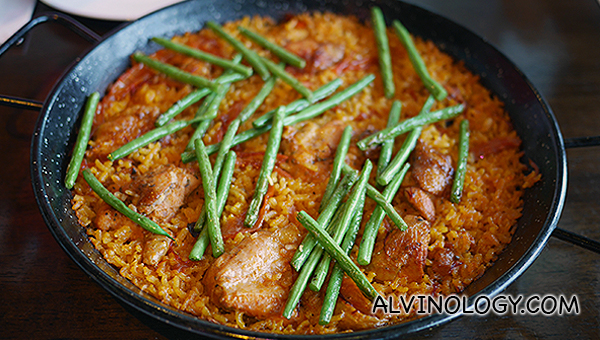 Paella Valenciana (S$47) - Classic paella of chicken, french beans, saffron and spices (serves 4 to 5 pax)