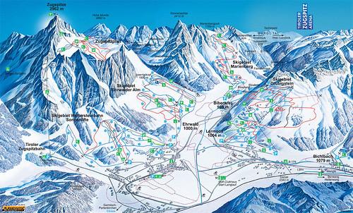 Tiroler Zugspitz Arena - mapa sjezdovek