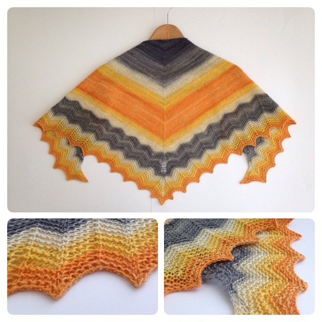 This is my shawl knit with my handspun. The colorway is Franklin from #GnomeAcres dyed for the Knitabulls podcast long time ago. I used stockinette for the body and chevron for the border. I love it