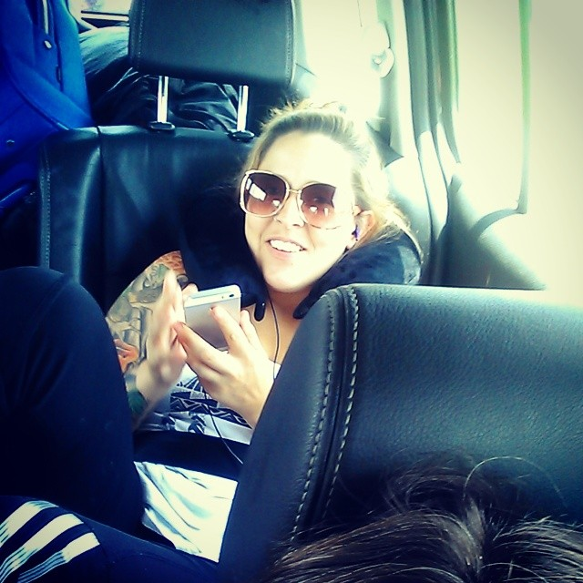 @vickic321  all cozy in the back... #roadtrip #bored #getmeoutofthiscar #triouradventure