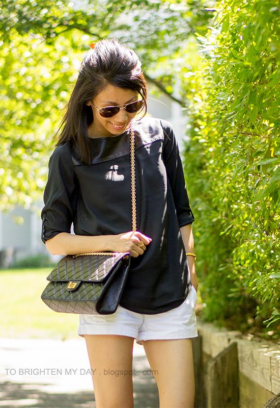 black faux leather yoke top, white shorts