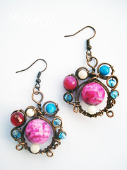 handmade-earrings-copper-wire-natural-stone-pearl-agate-glass-beads