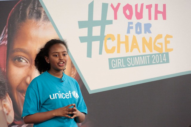 Hannah Godefa, UNICEF Goodwill Ambassador, speaking at  Youth For Change