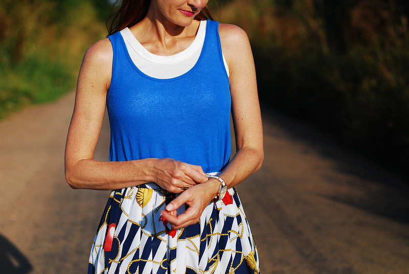 Blue layered tanks and vintage printed skirt #summer #style