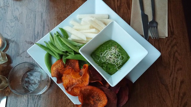 Spinach Dip with Beet and Yam Chips, Snap Peas, and Jicima Fries