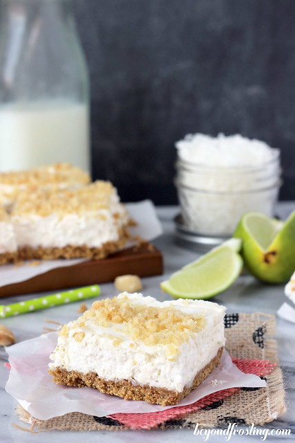 No-Bake Coconut Lime Cheesecake Bars | beyondfrosting.com |
