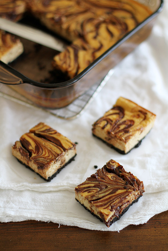 Nutella-Swirled Cappuccino Cheesecake Bars | girlversusdough.com