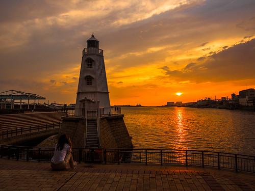 sunset lighthouse port 日本 夕日 港 灯台 大阪府 堺市 旧堺灯台