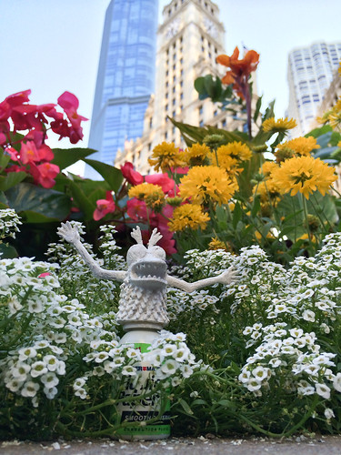 White-out monster turns Michigan Avenue flowers white