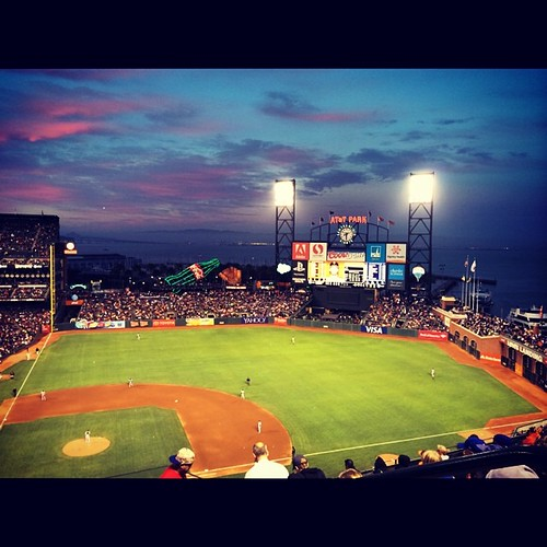 AT&T Park at sunset. #sanfrancisco #mlb #baseball #attpark #kategoestocalifornia